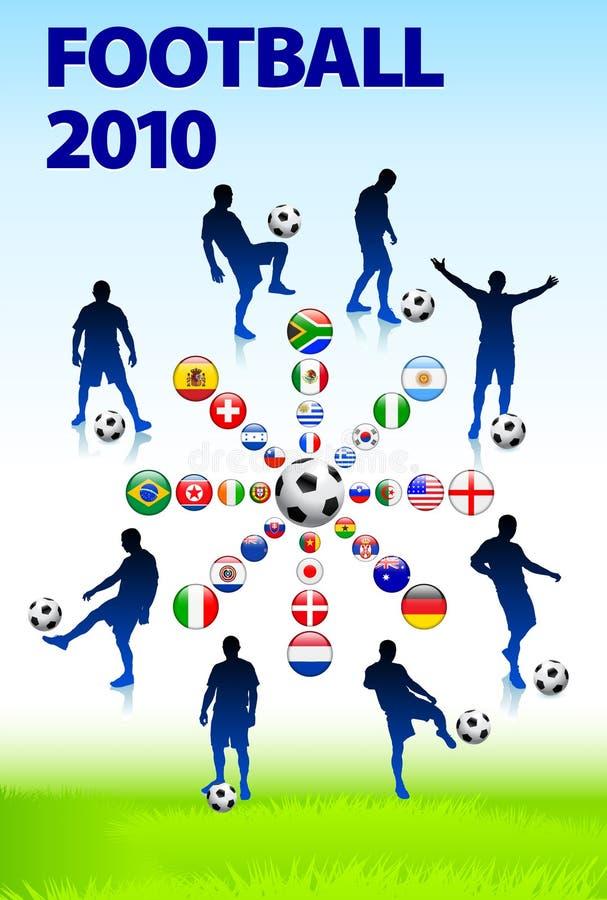2010 αγώνας ποδοσφαίρου ποδοσφαίρου διανυσματική απεικόνιση