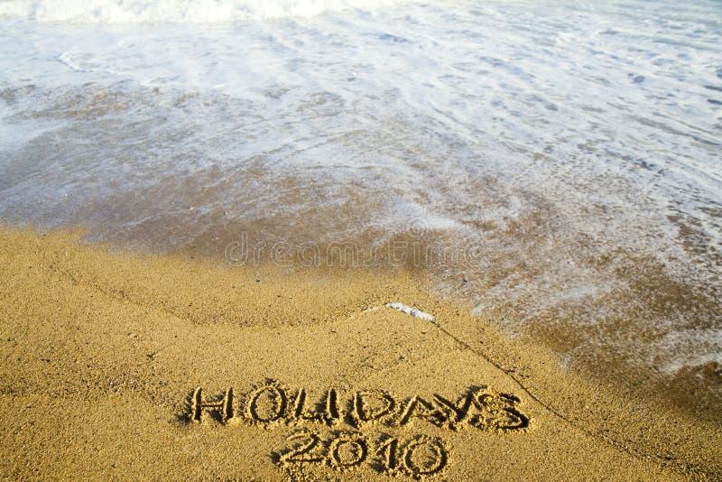 2010 διακοπές στρώνουν με άμμ&omicro στοκ εικόνα με δικαίωμα ελεύθερης χρήσης