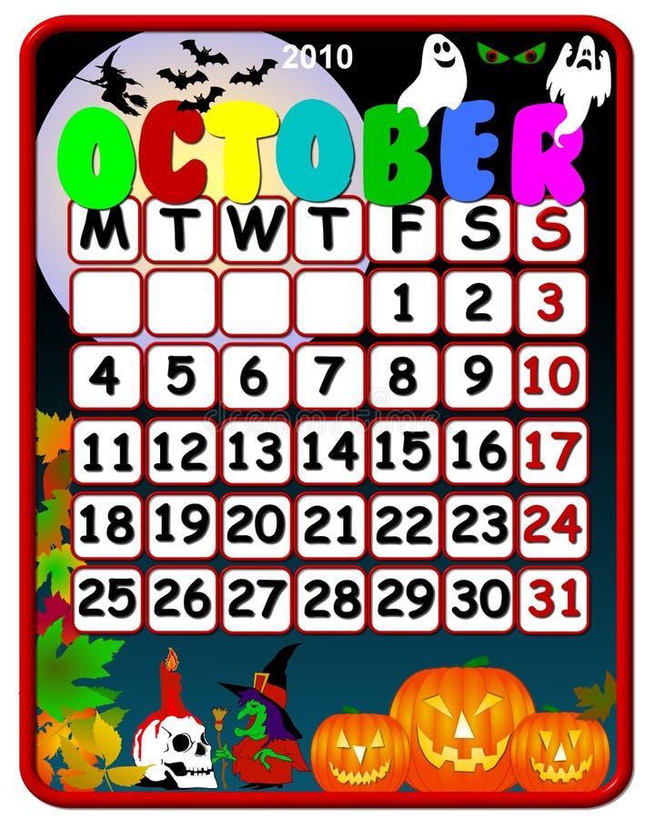 2010 календар октябрь бесплатная иллюстрация
