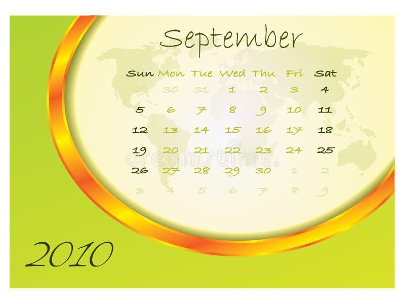 2010 календар сентябрь иллюстрация штока