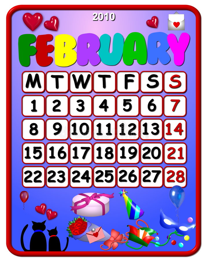 2010 календар февраль иллюстрация вектора