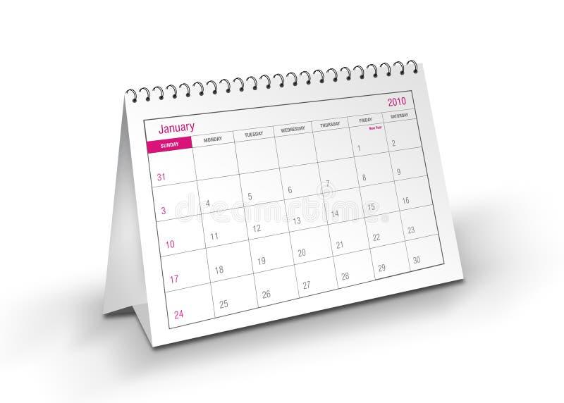 2010 календар январь иллюстрация штока