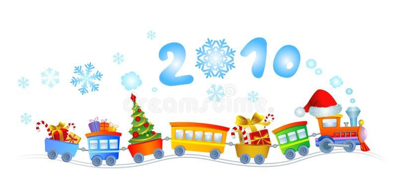 2010 новых год поезда иллюстрация штока