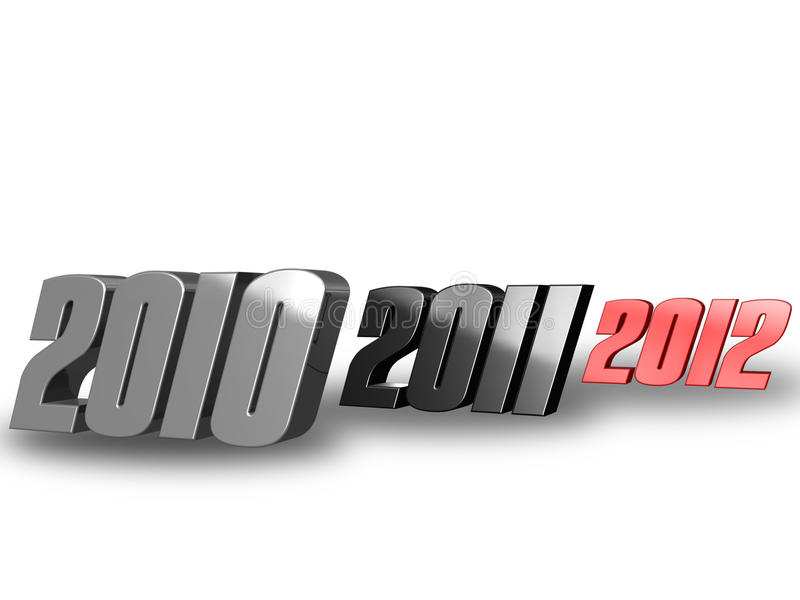 2010 2011 2012. 3D 2010 2011 and 2012 in red, silver an black stock illustration