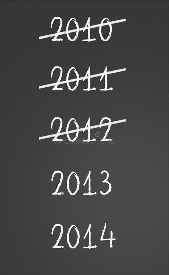 2010 2011 2012 krzyżujący i nowy rok, 2013, 2014 ilustracja wektor