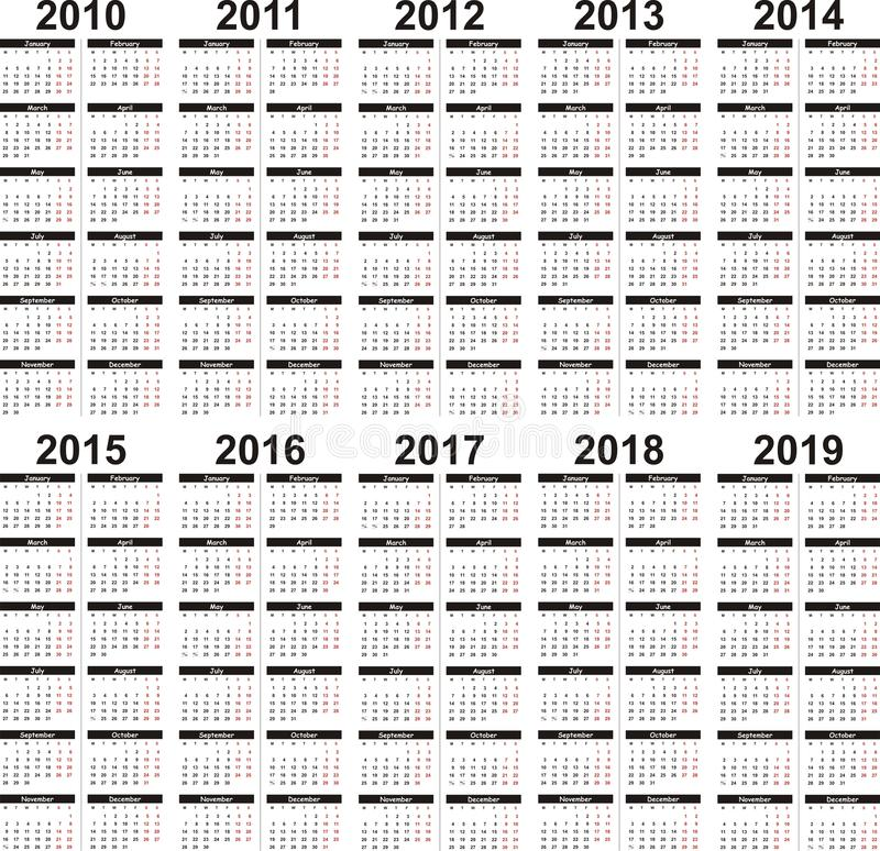 2010 2019日历 皇族释放例证