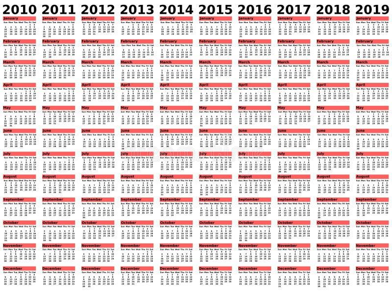 2010-2019 calendário da década ilustração stock