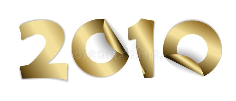 2010 bildeten von den goldenen Aufklebern vektor abbildung