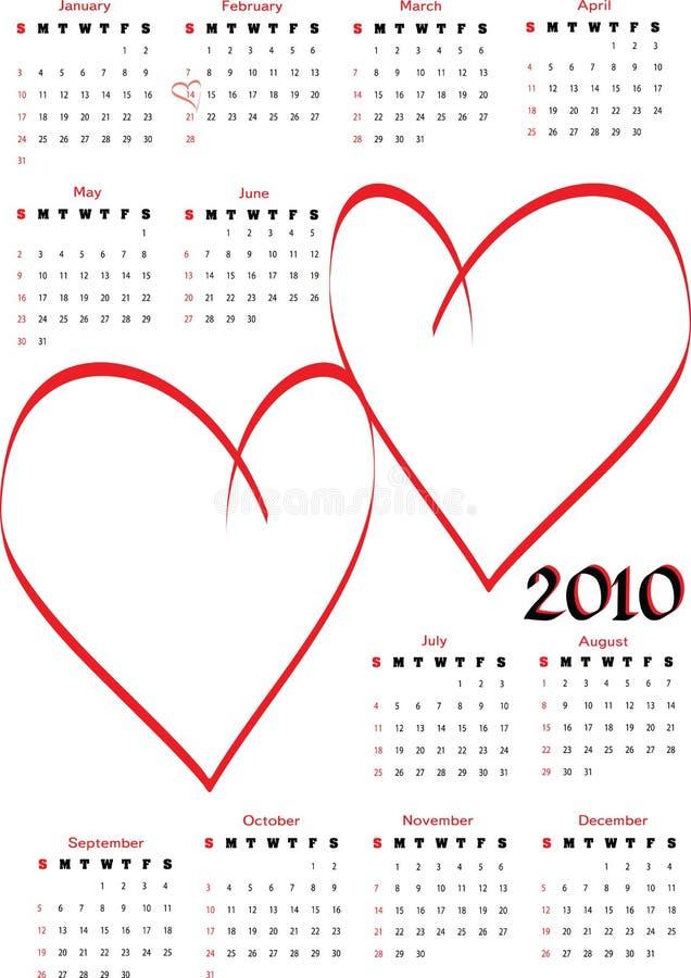 2010 blanka kalenderhjärtor royaltyfri illustrationer