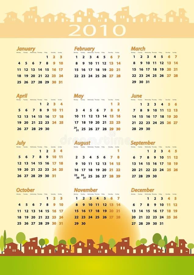 2010 calendrier - thème de construction illustration de vecteur