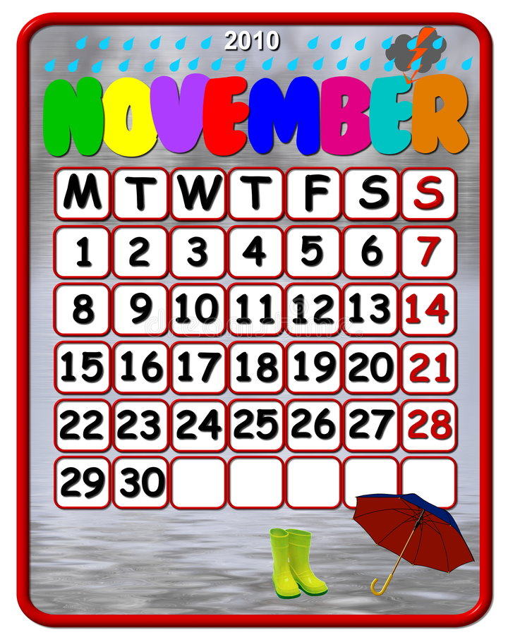 2010 de kalender van November stock illustratie