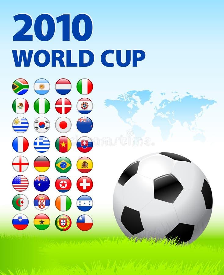 2010 de Knopen van Internet van de Vlag van het Team van de Kop van de wereld met Wor stock illustratie