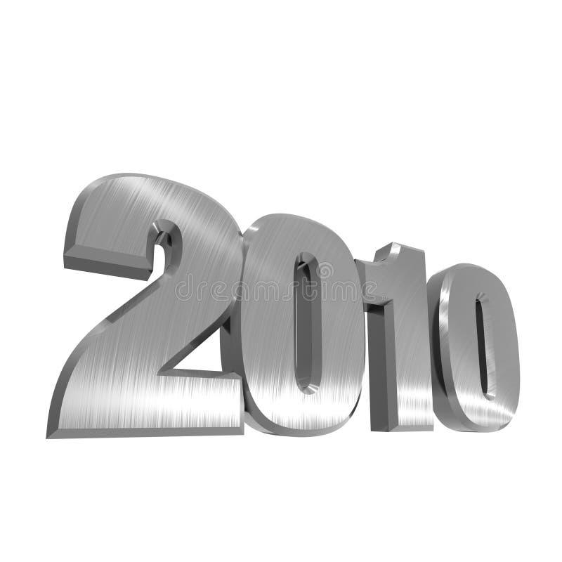 2010 de MetaalTekst van het Nieuwjaar stock illustratie