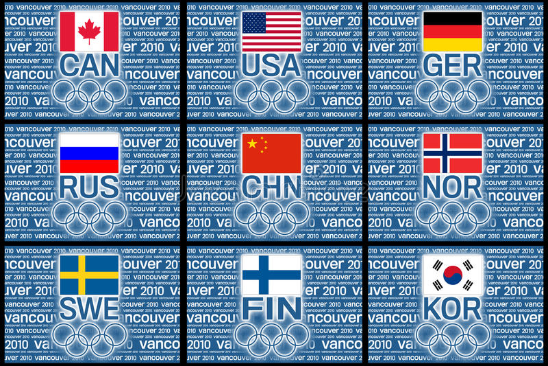 2010 flaggaolympiska spel royaltyfri illustrationer