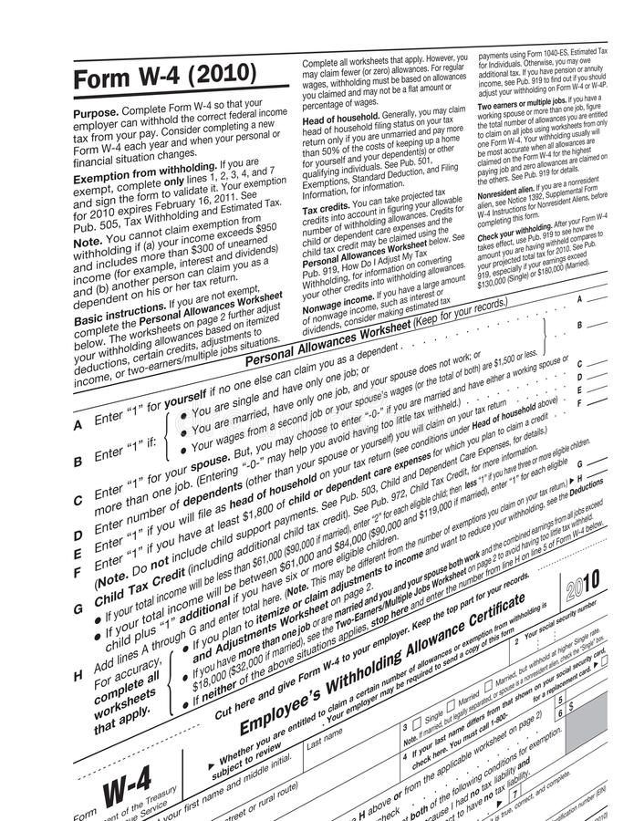 2010 Form W-4. Employee Withholding Allowance Certificate, 2011 tax concept stock photos