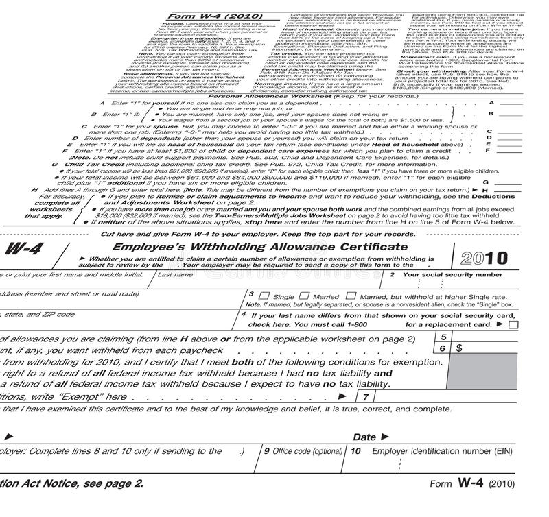 2010 Form W-4, tax paying,. Employee withholding allowance certificate, 2011 tax concept stock image