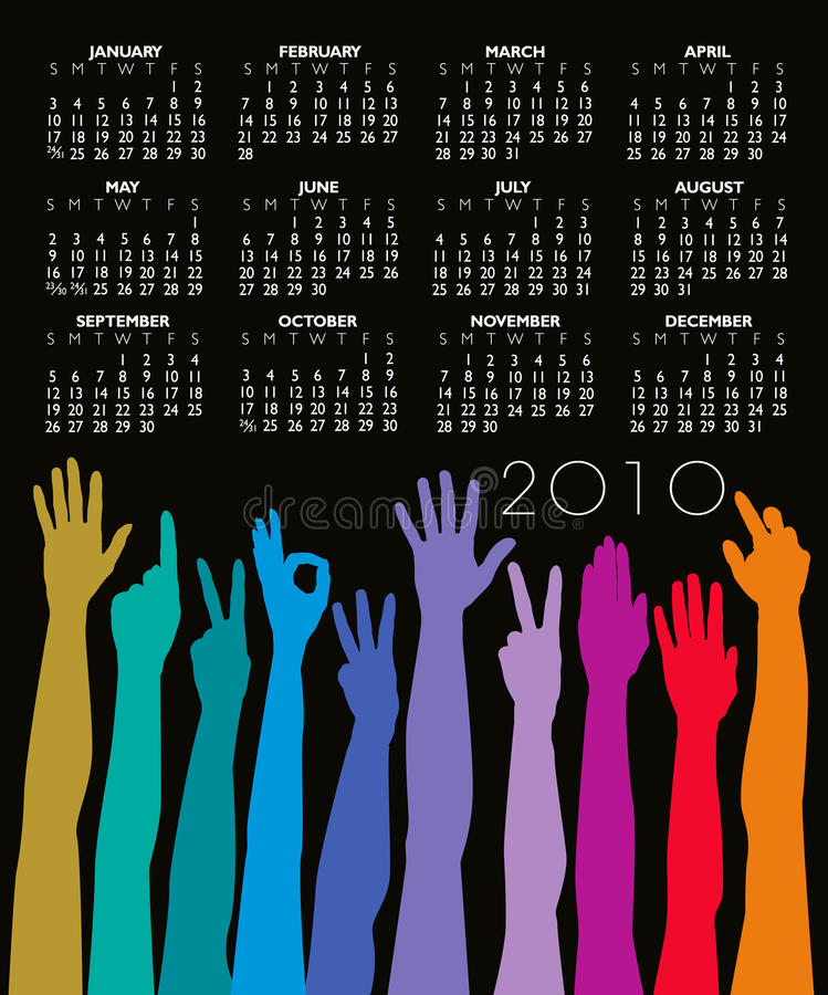 Download 2010 Hands Calendar stock vector. Image of colorful, illustrated - 10789719