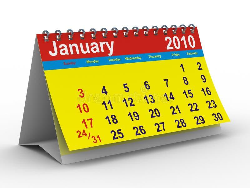 2010-Jahr-Kalender. Januar lizenzfreie abbildung