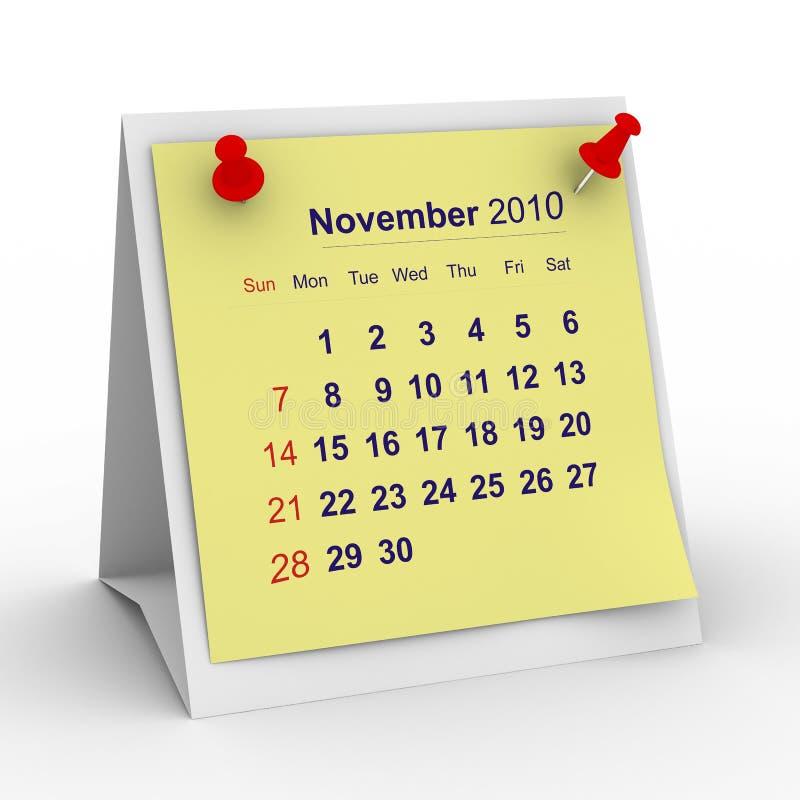 2010-Jahr-Kalender. November stock abbildung