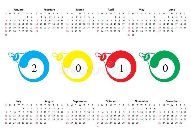 2010 kalendarz pierwszy Niedziela ilustracji
