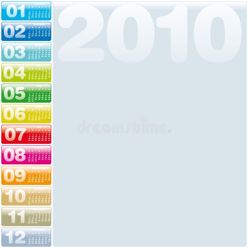 2010 kalendarzowych kolorowi ilustracji