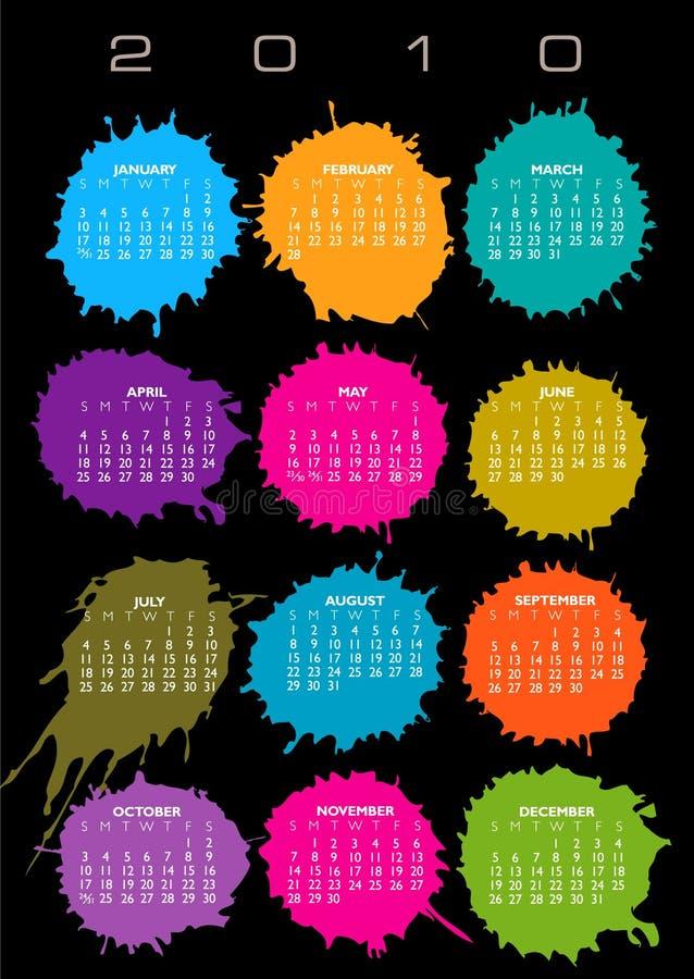 2010 kalendarzowych kolorowi ilustracja wektor