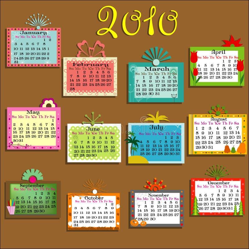 2010 kalendarzowych kolorowych ilustracja wektor