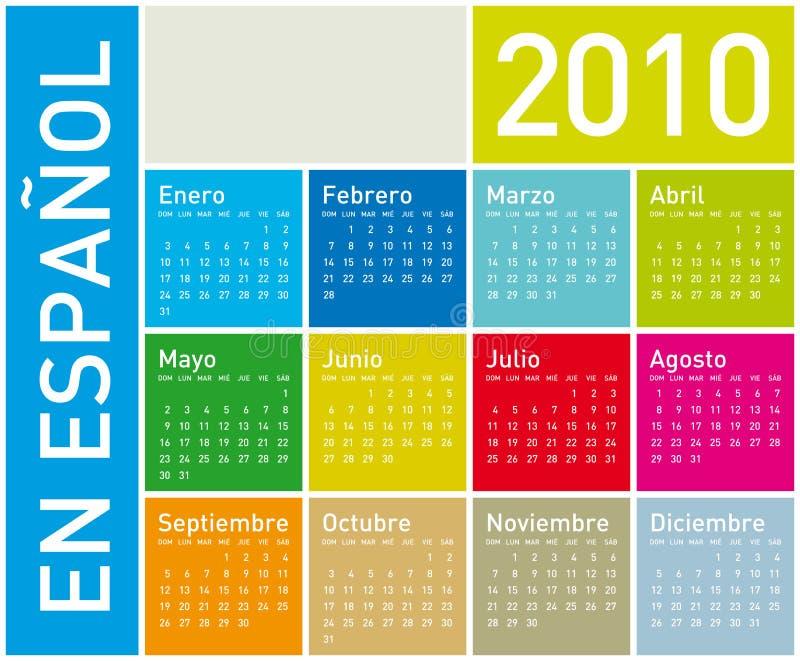 2010 kalendarzowych kolorowych spanish ilustracja wektor
