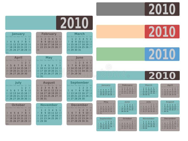 2010 kalendarzowych nowożytni ilustracji