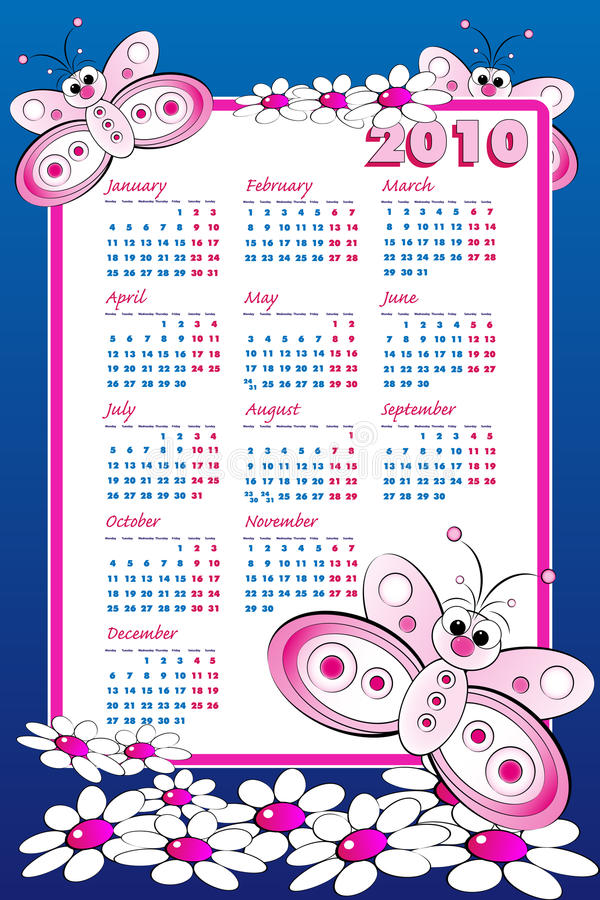 2010 Kid calendar with butterfly vector illustration