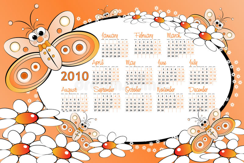 2010 Kid calendar with butterfly stock illustration