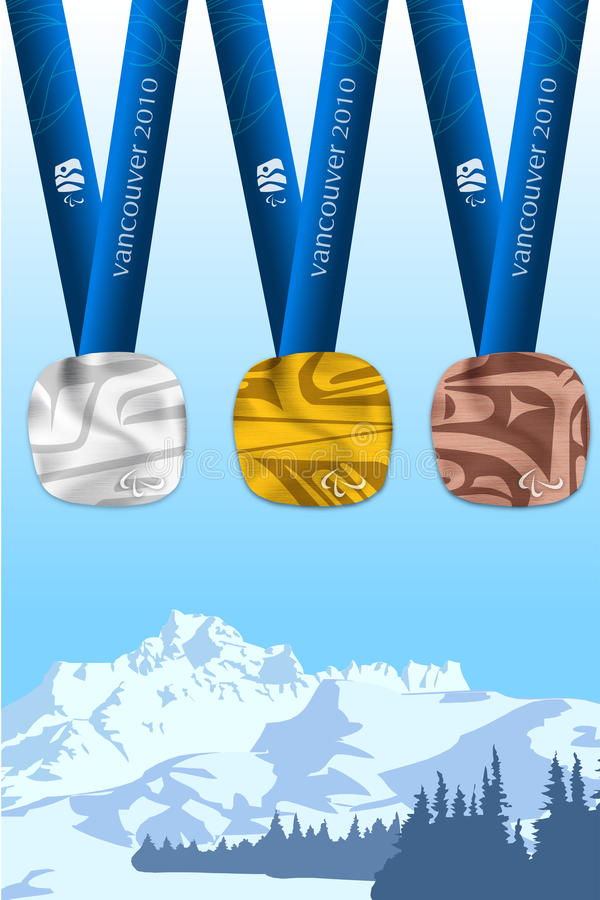 2010 medaljer vancouver stock illustrationer