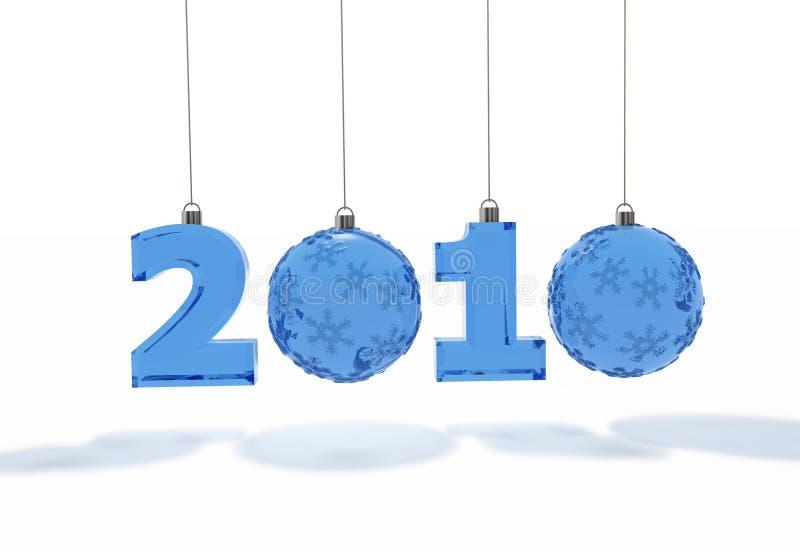 2010 números con las bolas de cristal de la decoración ilustración del vector