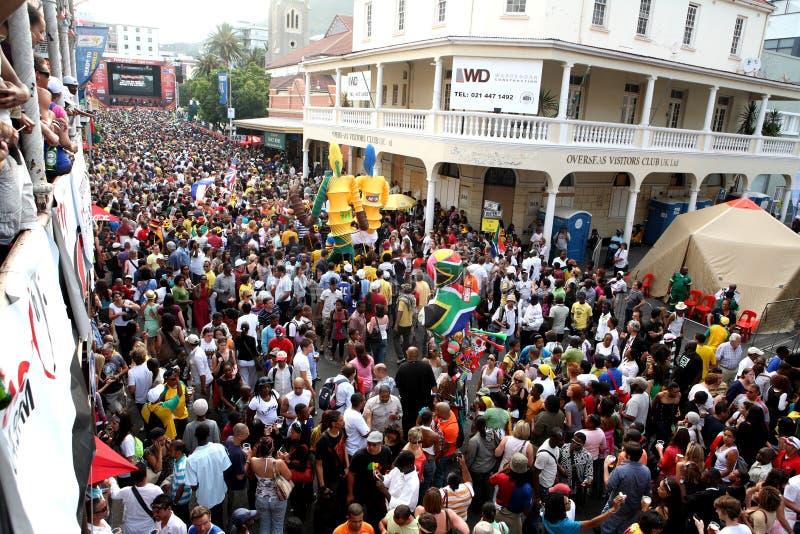 2010 trekt def. van de Kop van de Wereld van FIFA in lange straatkaap stock foto