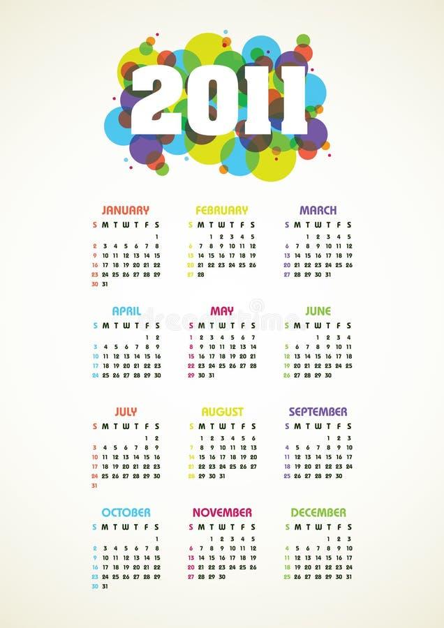 2011个日历向量垂直年 向量例证