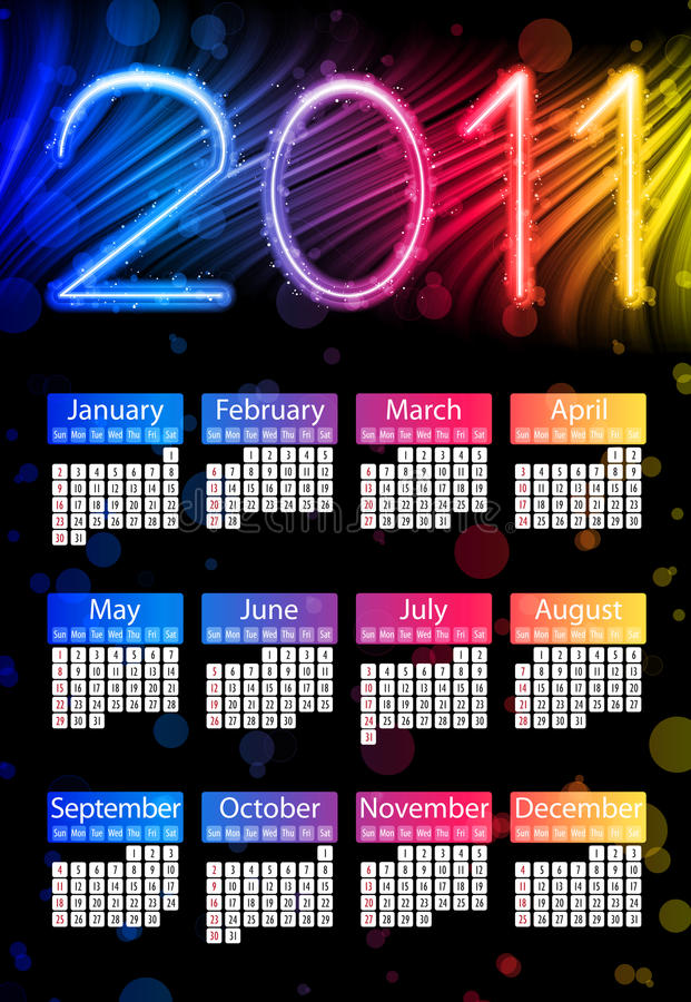 2011五颜六色黑色的日历 向量例证