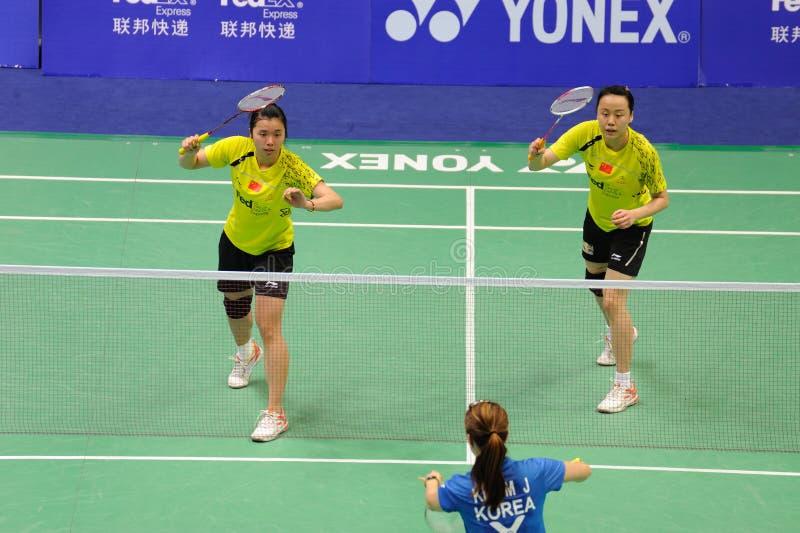 2011年亚洲羽毛球冠军双s妇女 免版税库存图片