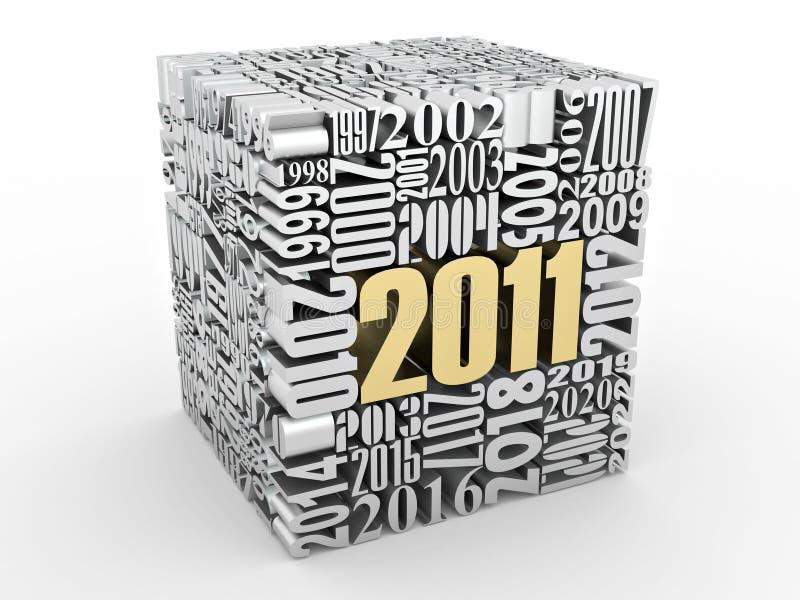 2011年包括的多维数据集新的编号年 库存例证