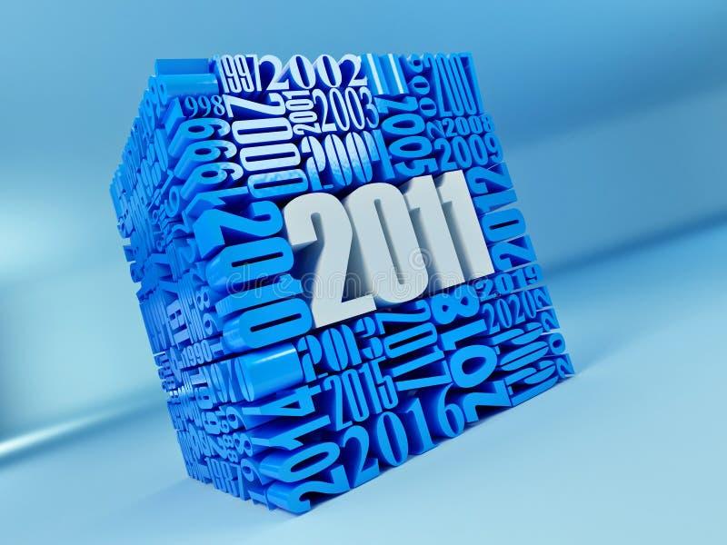 2011年包括的多维数据集新的编号年 皇族释放例证