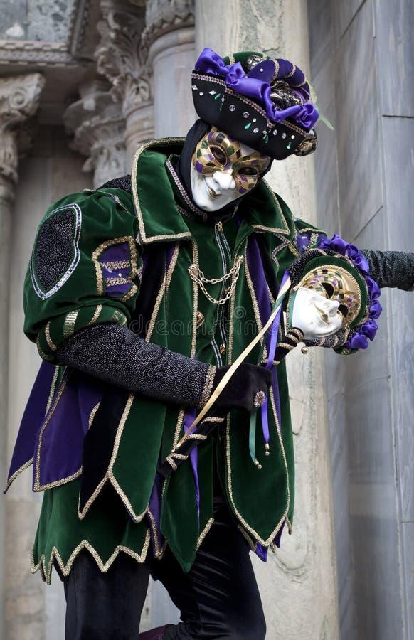2011年狂欢节服装说笑话者人威尼斯 图库摄影