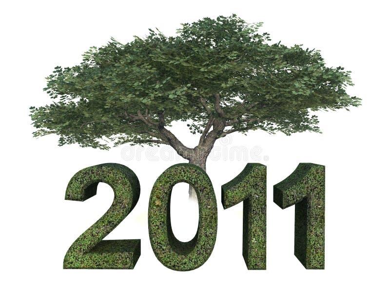 2011绿色结构树年 库存照片
