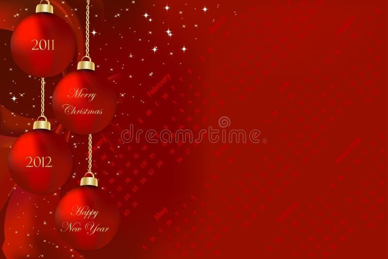 2011 2012 Новый Год рождества счастливых веселых бесплатная иллюстрация