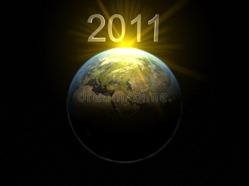 2011 au-dessus de la terre illustration de vecteur