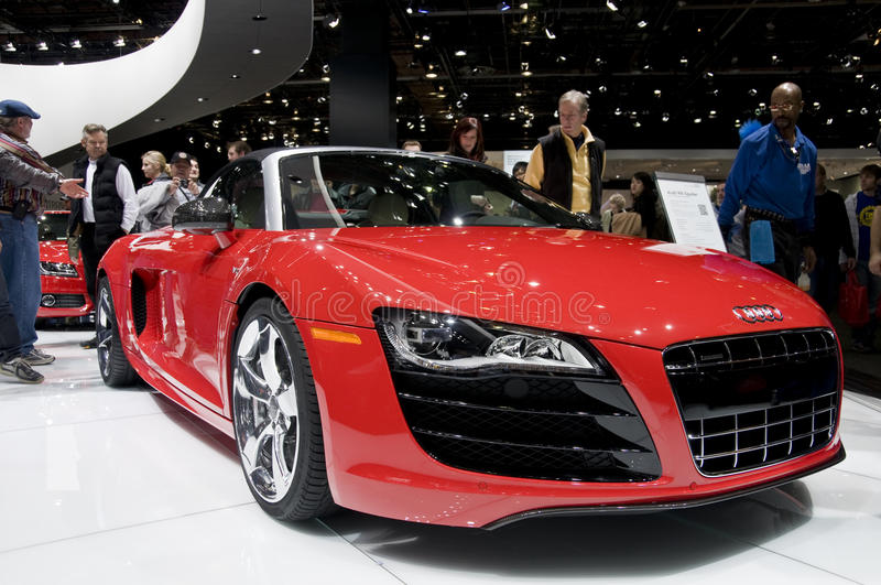 2011 Audi R8 Roadster at NAIAS. 2011 Audi R8 Roadster, presented at the 2011 North American International Auto Show. See my portfolio for more automotive images stock photo