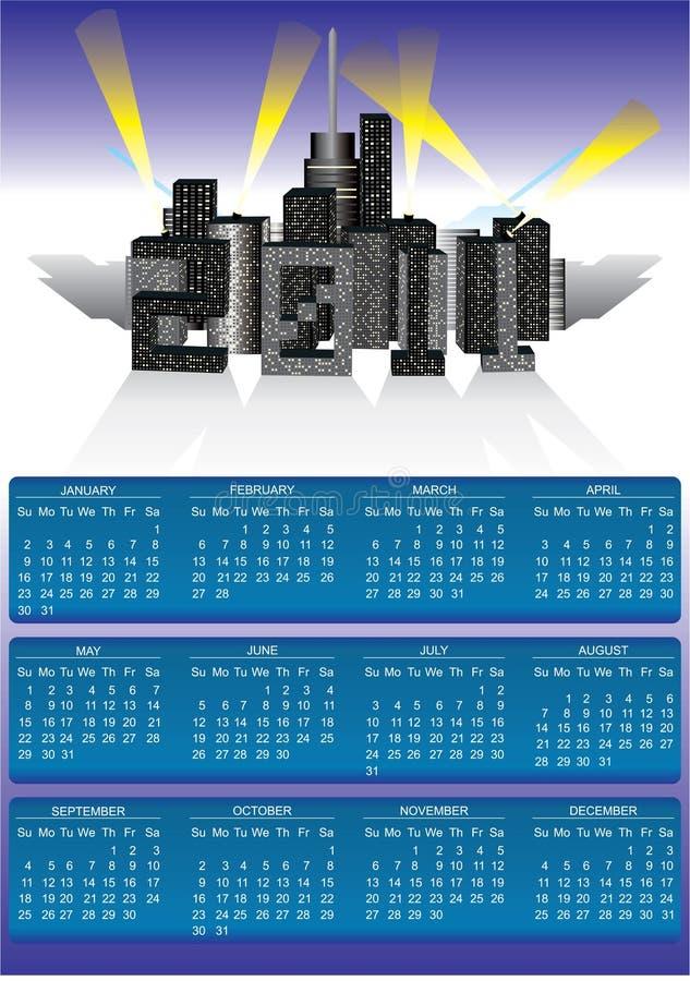 Download 2011 calendar stock illustration. Illustration of downtown - 16761096