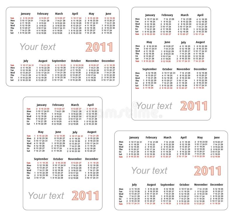 Free 2011 Calendar With Blank Space For Your Text Stock Photos - 15833183