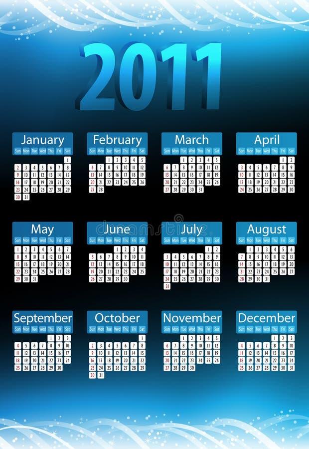 2011 calendarios azules que brillan intensamente. ilustración del vector