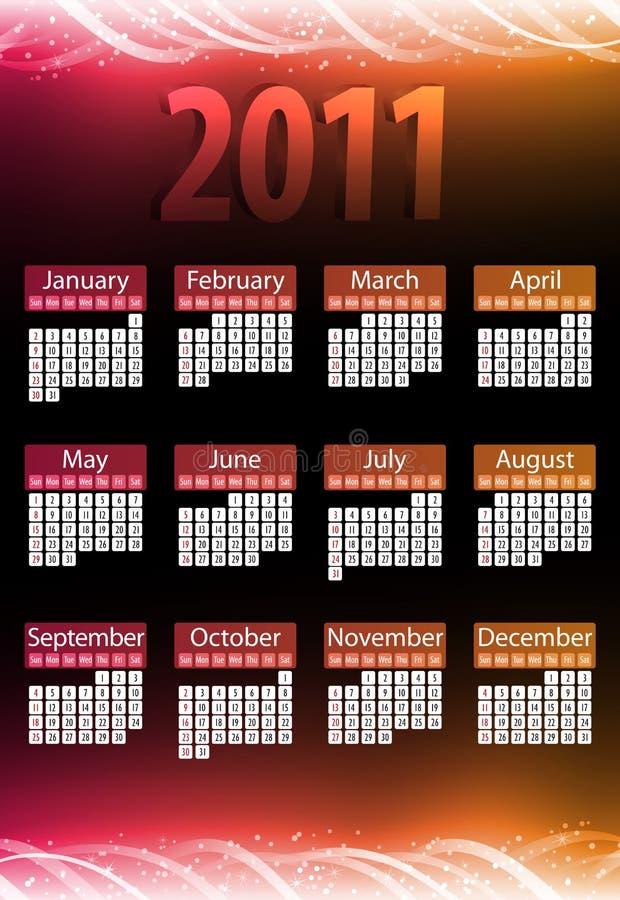 2011 calendarios de neón que brillan intensamente ilustración del vector