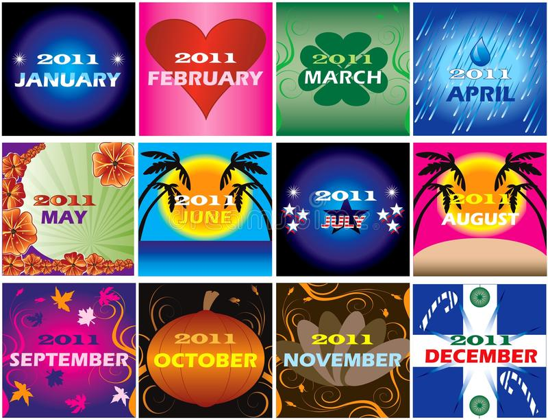 2011 Decorative themed Calendars vector illustration