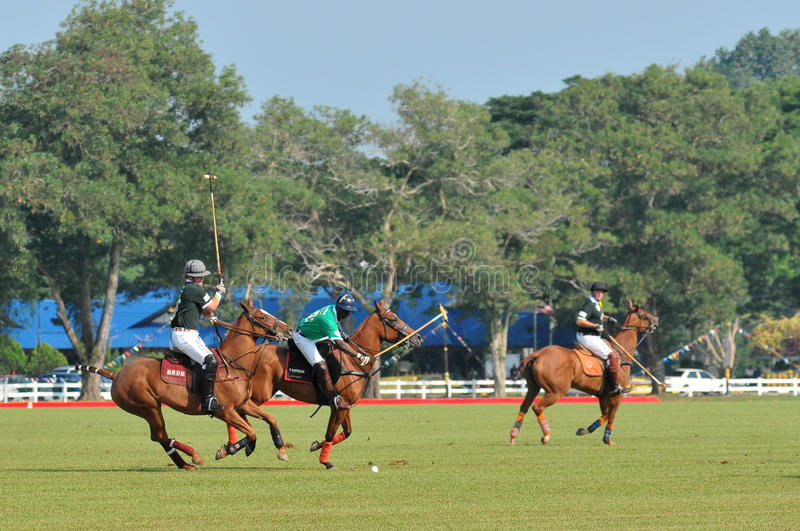2011 FIP POLO WORLD CUP. 13 June 2011, The nigeria player blocking and hitting ball into the back at Royal Pahang Polo Club Pekan Pahang Malaysia stock photo